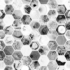 Marbled Hexagons - Black & White Version #1