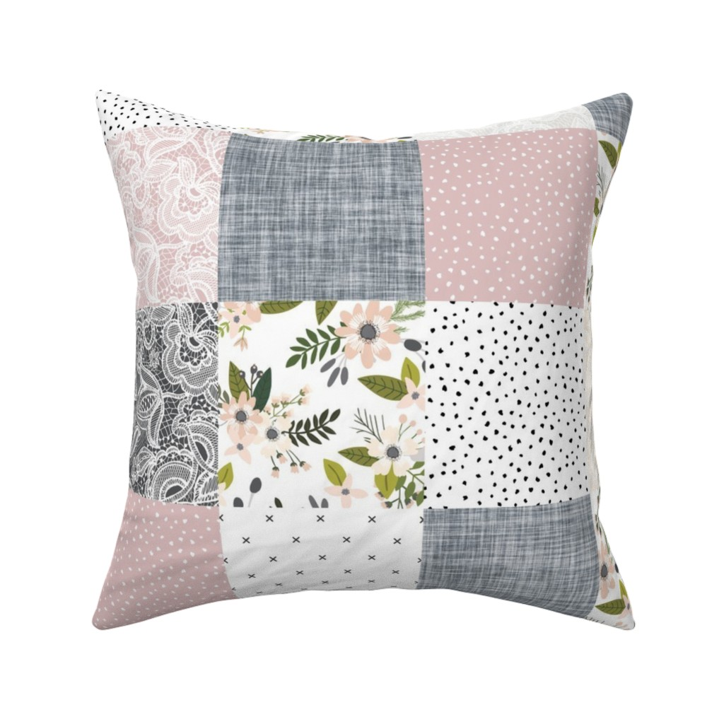 Catalan Throw Pillow featuring Charcoal and Blush Sprigs and Blooms Wholecloth by ivieclothco
