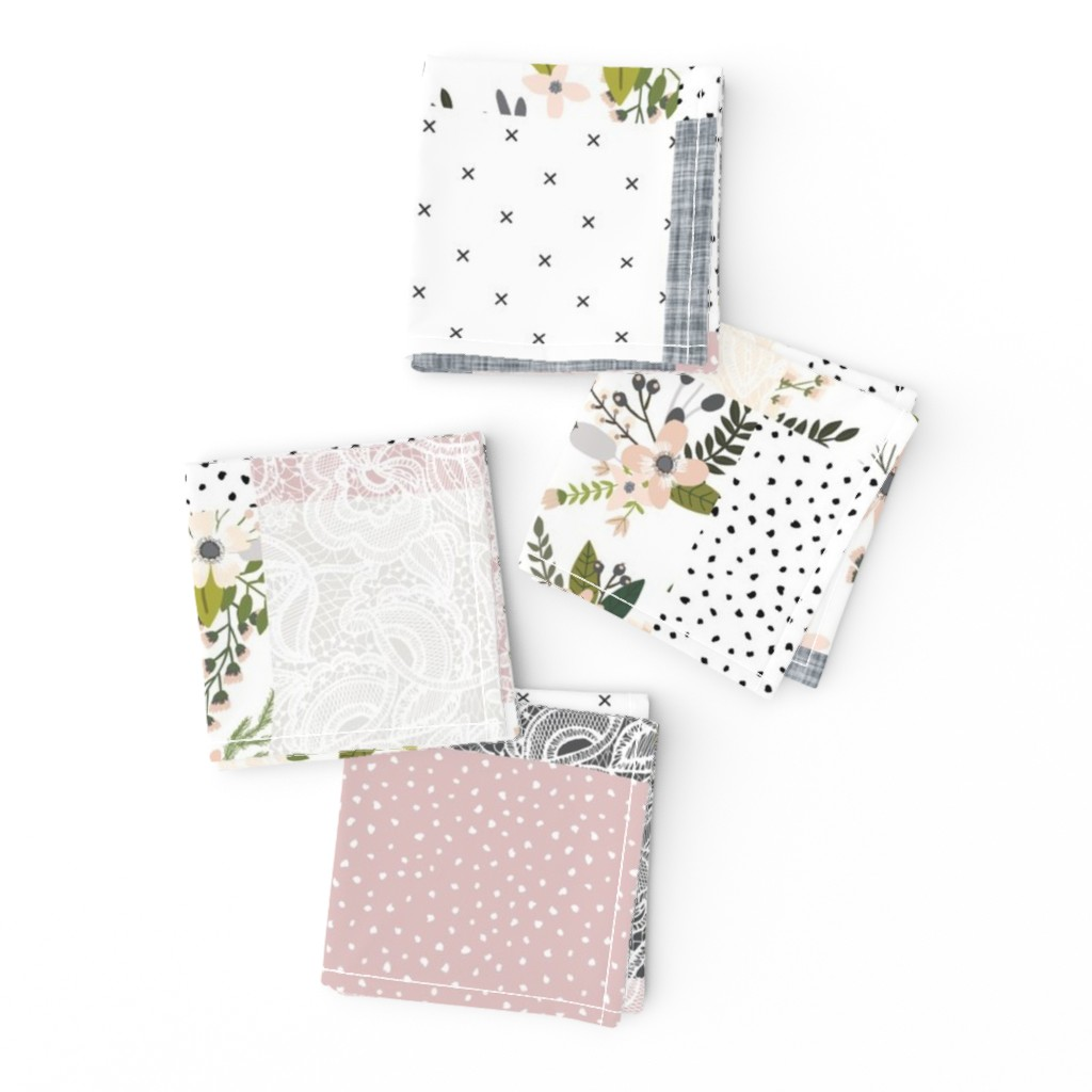 Frizzle Cocktail Napkins featuring Charcoal and Blush Sprigs and Blooms Wholecloth by ivieclothco