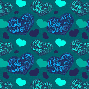 Valentine's day with blue hearts