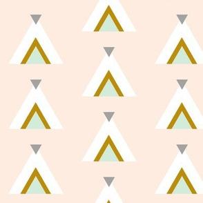 Tribal Teepees / Blush Mint Gray Mustard