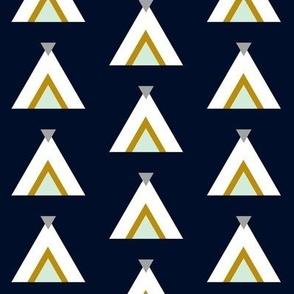 Tribal Teepees / Navy Mint Gray Mustard