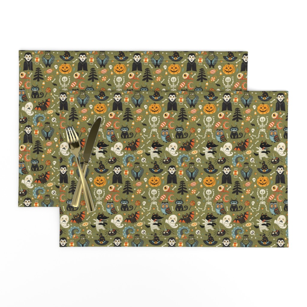 Lamona Cloth Placemats featuring Happy Halloween by penguinhouse
