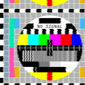 tv television test cards patterns rainbow multi colors colorful signals PM5544 PAL analogue retro tuning reception resolution antenna broadcast pop art media video glitches poor distortion noisy noise static errors broken transmission  blurry