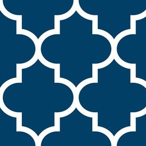 quatrefoil XL navy blue