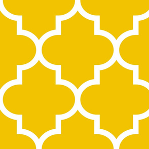 quatrefoil XL mustard yellow