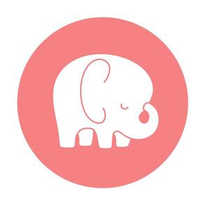 sleepy elephant coral mod baby » plush + pillows // fat quarter