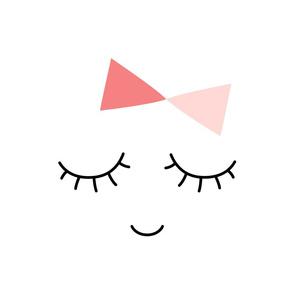 miss sleepy eyes coral pink hair bows mod baby » plush + pillows // fat quarter
