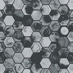 Marbled Hexagons - Distressed Grey