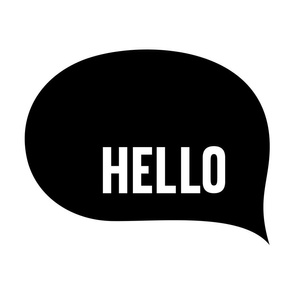 hello speech bubble black mod baby » plush + pillows // fat quarter
