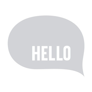 hello speech bubble grey mod baby » plush + pillows // fat quarter