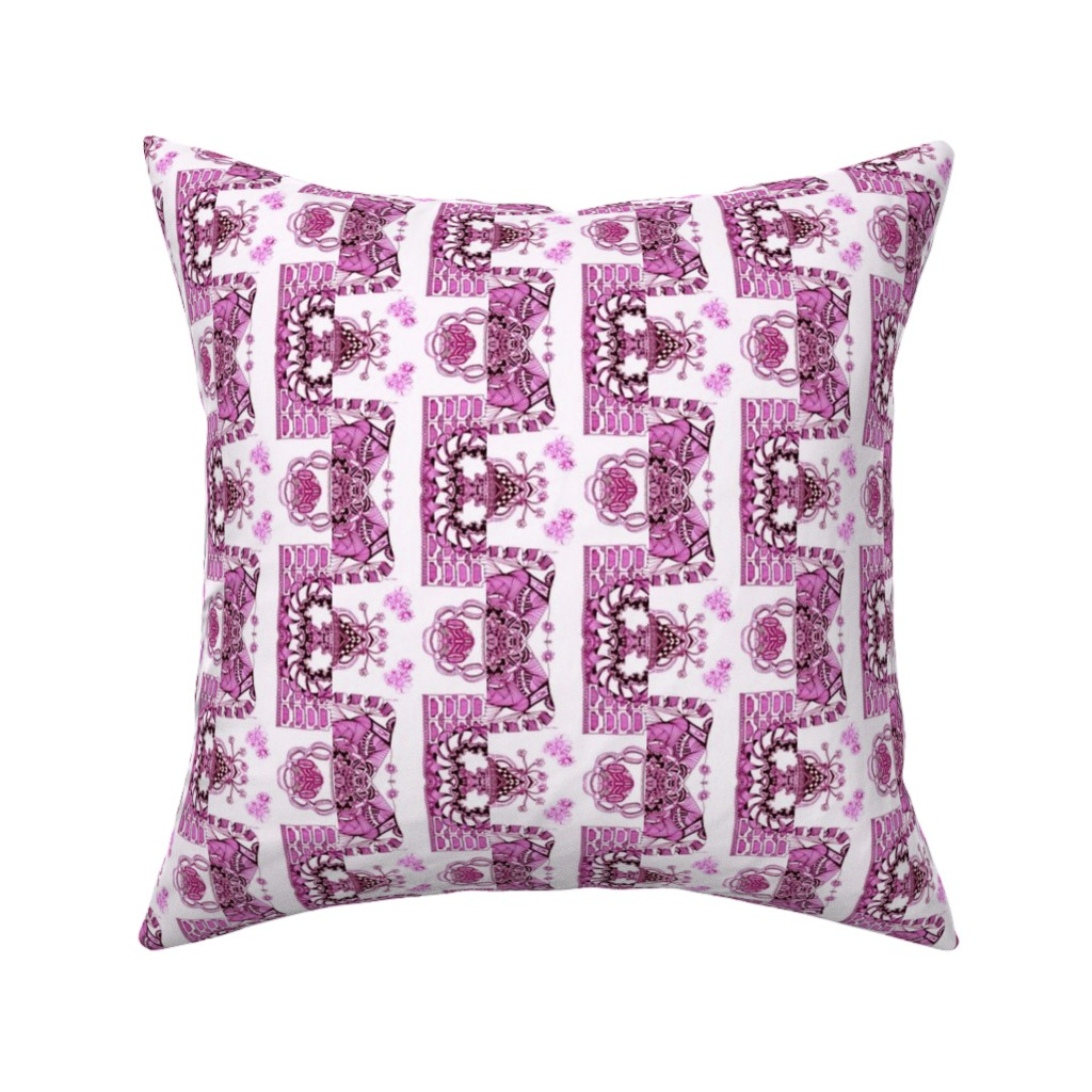 Catalan Throw Pillow featuring Whimsical Wayward Stripes in Burgundy and Pink on White by maryyx