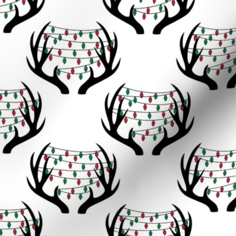 Fabric by the Yard christmas lights on antlers || white