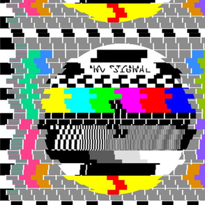 tv television test cards patterns rainbow multi colors colorful signals PM5544 PAL analogue retro tuning reception resolution antenna broadcast pop art media video glitches poor distortion noisy noise static errors broken transmission