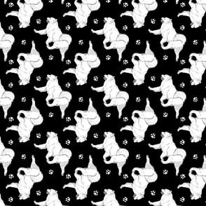 Trotting Samoyed and paw prints - black