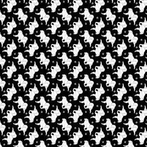 Trotting Samoyed and paw prints - tiny black