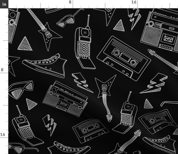 Fabric By The Yard 90s Life 90s Style Illustrations On Fabric Wallpaper Gift Wrap Black And White