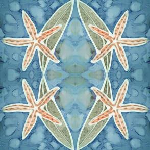 Orange Blue Batik Starfish with Kelp on Ocean