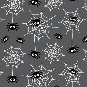 spiders and webs on dark grey » halloween monochrome