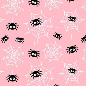 spiders and webs on light baby pink » halloween