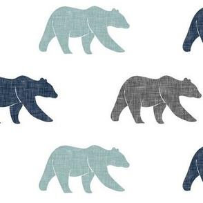 multi bear fabric    navy, dusty blue, grey