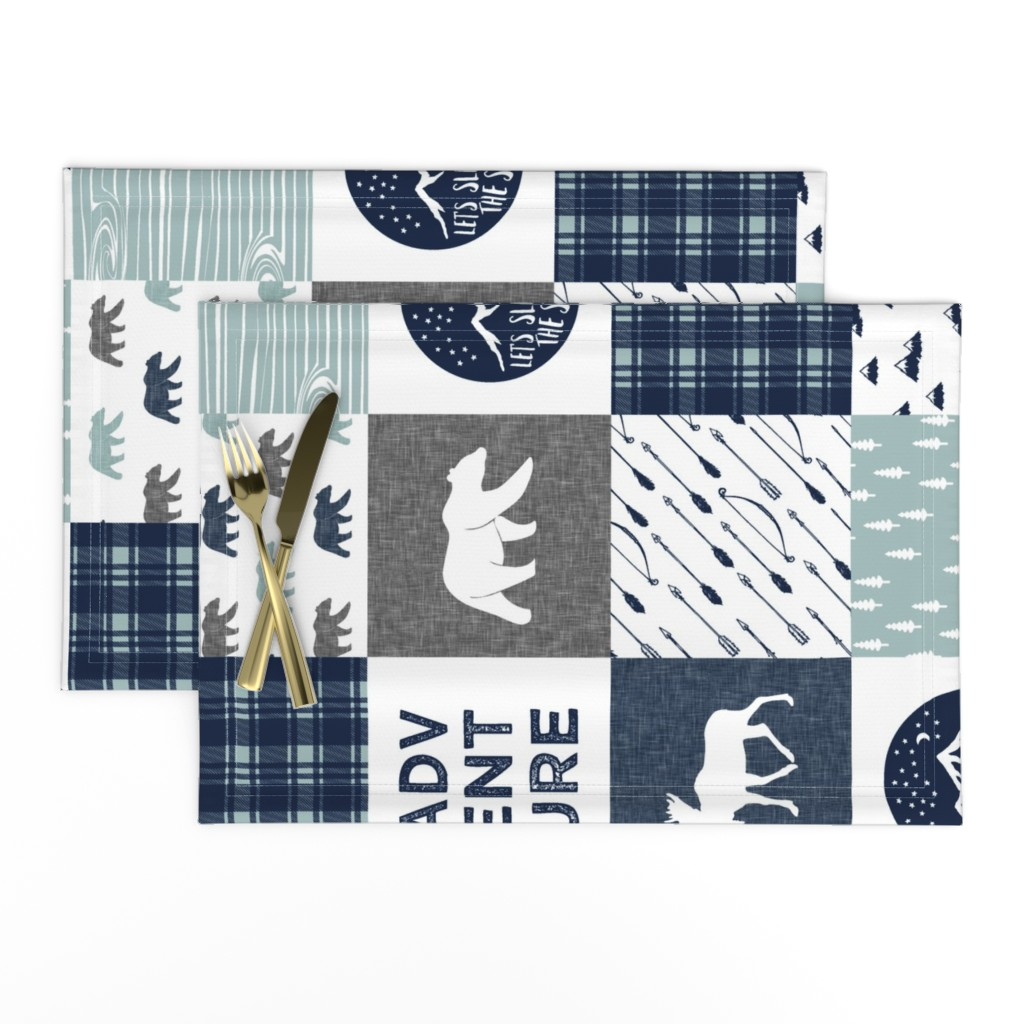 Lamona Cloth Placemats featuring the happy camper wholecloth || navy and dusty blue by littlearrowdesign