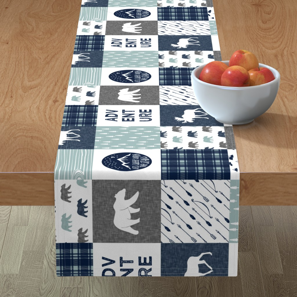 Minorca Table Runner featuring the happy camper wholecloth || navy and dusty blue by littlearrowdesign