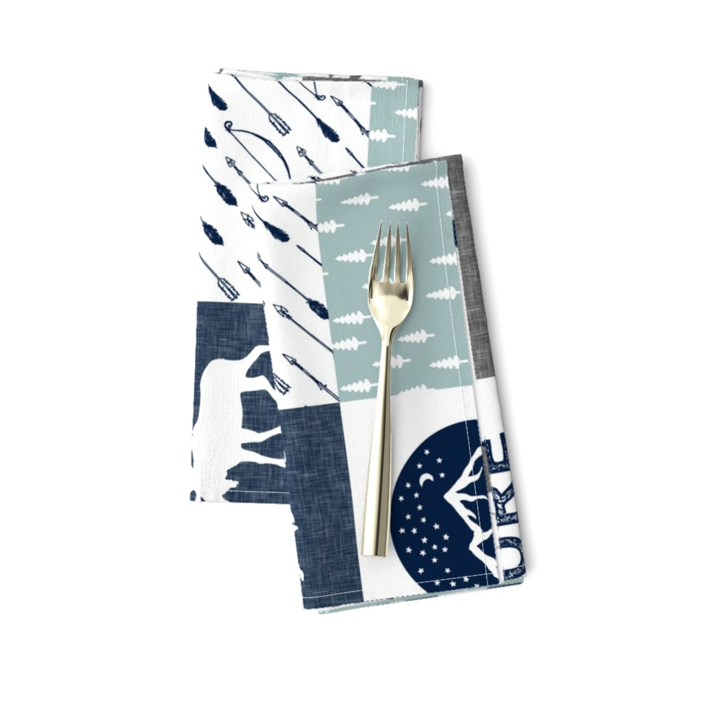 Amarela Dinner Napkins featuring the happy camper wholecloth || navy and dusty blue by littlearrowdesign