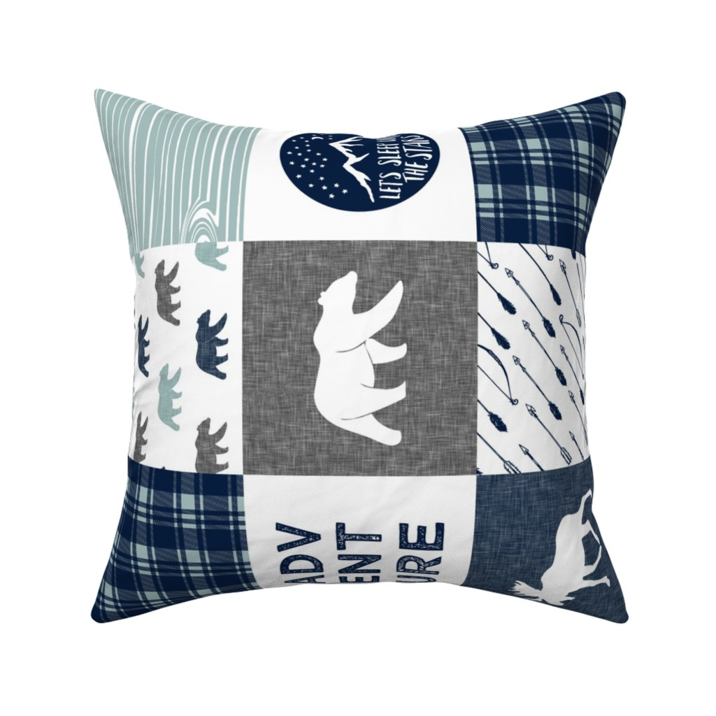 Catalan Throw Pillow featuring the happy camper wholecloth || navy and dusty blue by littlearrowdesign