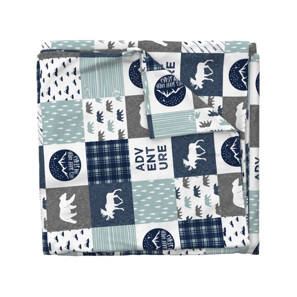 Wyandotte Duvet Cover featuring the happy camper wholecloth || navy and dusty blue by littlearrowdesign