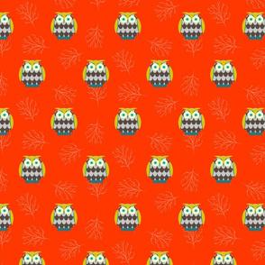 Owls on orange background