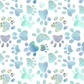 Paw Prints - blue