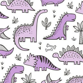 Dinosaurs in Purple on White