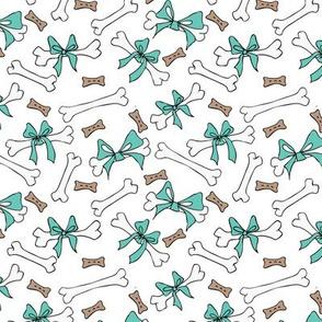 Dog Bones - White, Turquoise