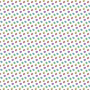 Tiny kitty cat paw prints - rainbow on white