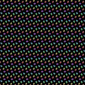 Tiny kitty cat paw prints - rainbow on black