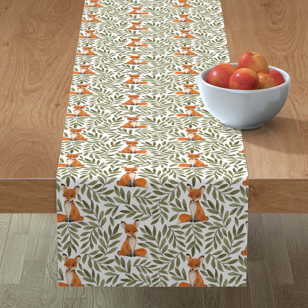 Minorca Table Runner featuring Fox and Leaves by bluebirdcoop