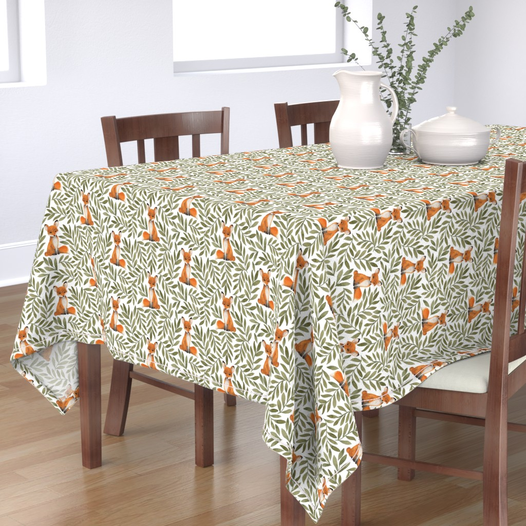 Bantam Rectangular Tablecloth featuring Fox and Leaves by bluebirdcoop