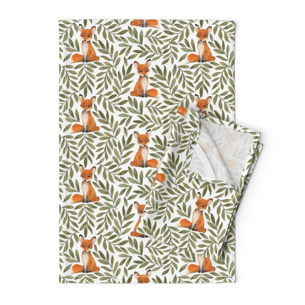 Orpington Tea Towels featuring Fox and Leaves by bluebirdcoop