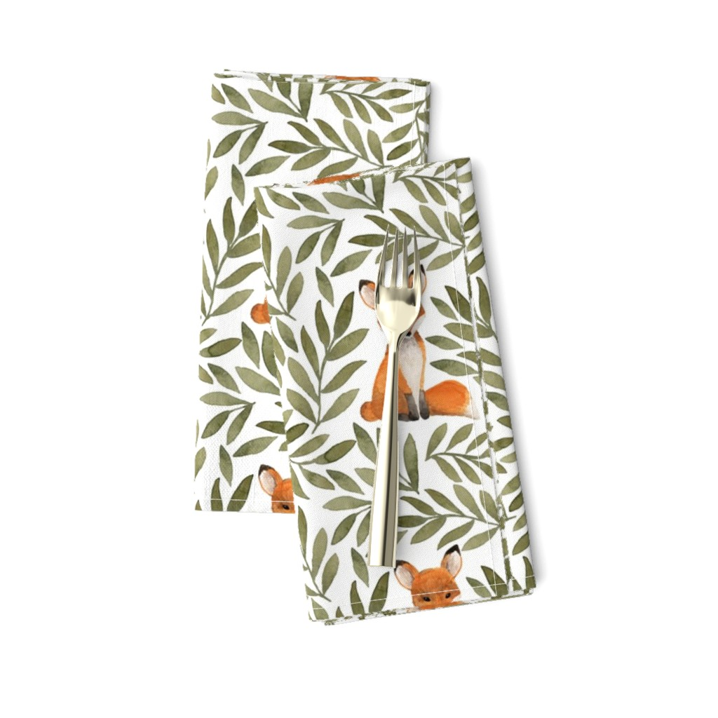 Amarela Dinner Napkins featuring Fox and Leaves by bluebirdcoop