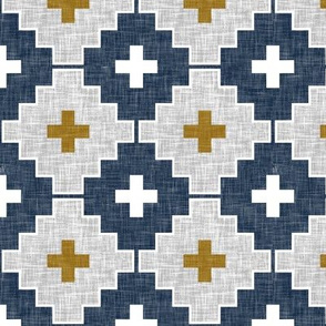 navy aztec linen