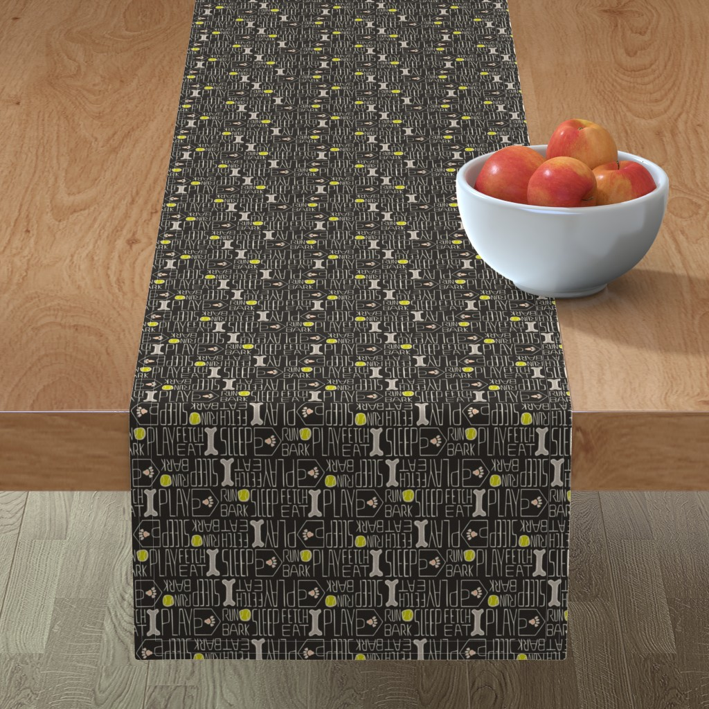 Minorca Table Runner featuring Dog's Life - Pets Black, Green, Pink by heatherdutton