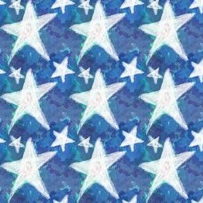 White Chalk Stars on Cerulean Blue