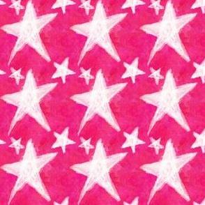 White Chalk Stars on Hot Pink