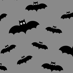 bats on light slate grey » halloween monochrome