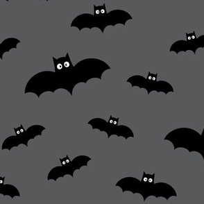 bats on dark grey » halloween monochrome