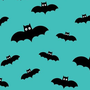 bats on teal blue » halloween