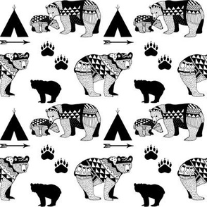 6-Geo_Bear_Family_Indian_Tribal Tee_Pee_Arrow_Paw_print_Black-FINAL