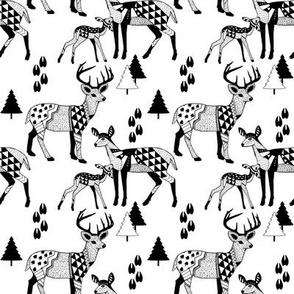 8 Geo Deer Family Tribal Woodland-BLACK_&_WHITE_Winter