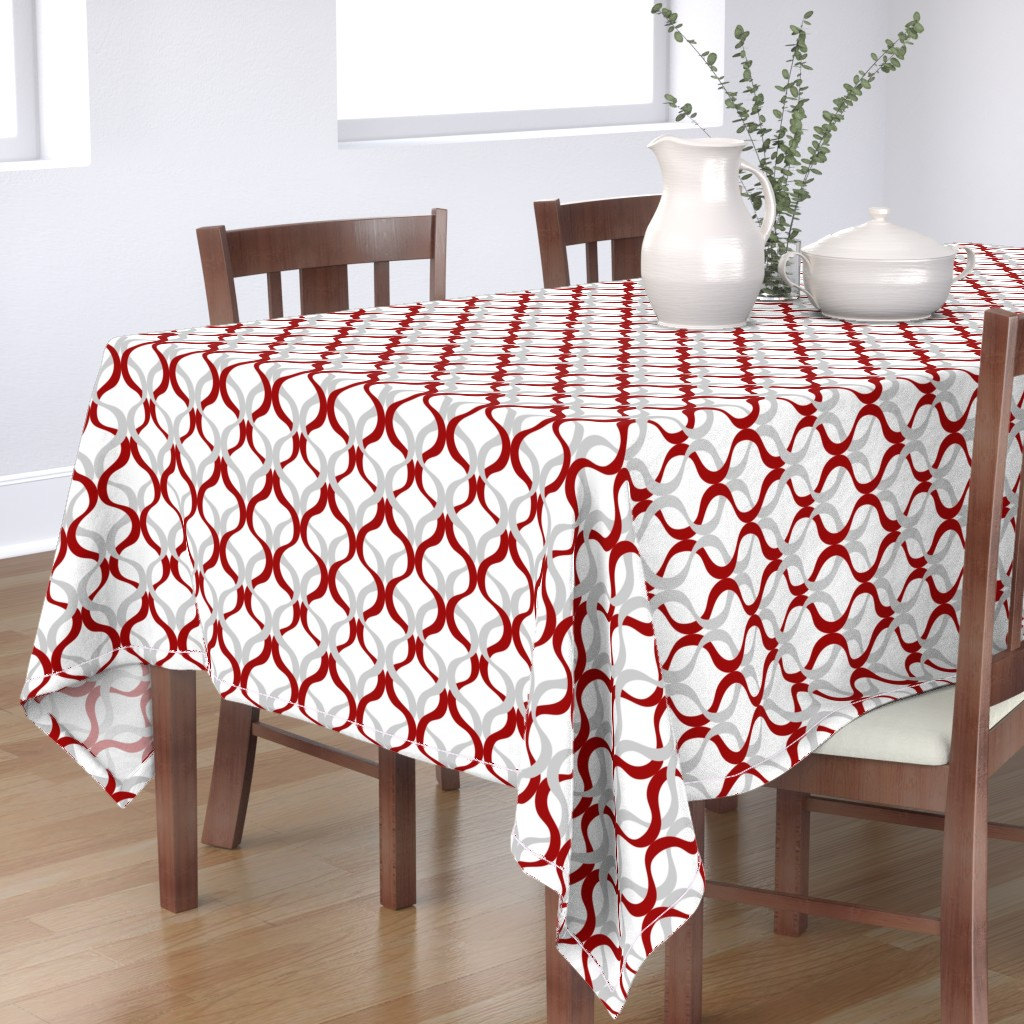 Bantam Rectangular Tablecloth featuring Crimson and grey team color Wave by rickrackscissorsstudio